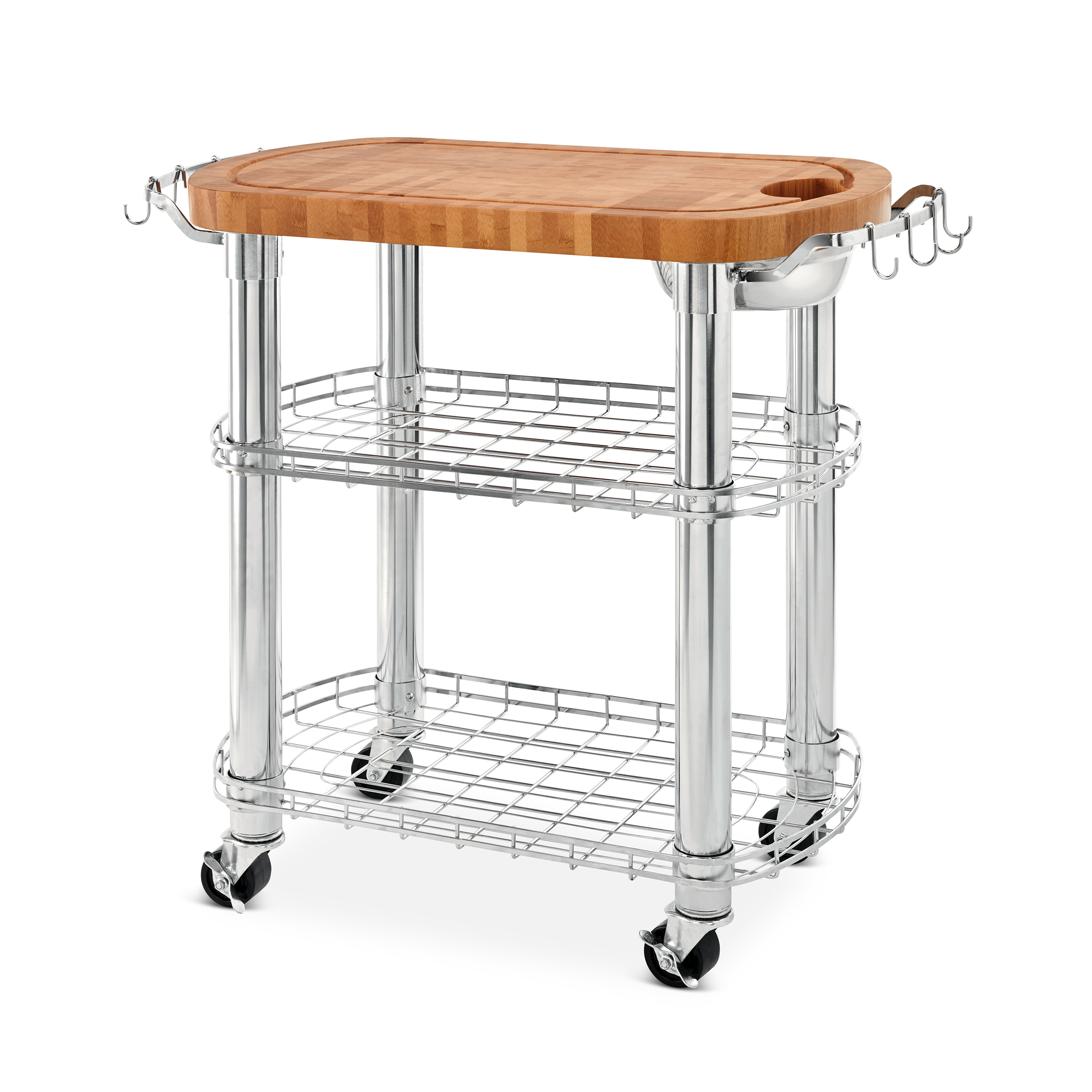 Butcher Block Rolling Kitchen Island : Seville Classics Rolling Oval Solid-Bamboo Butcher Block Top Kitchen Island Cart with Storage ...