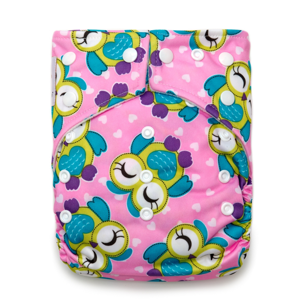Kawaii Baby Good Night Heavy Wetters Reusable Cloth Diaper One Size 2 Microfiber Inserts Pink Owl