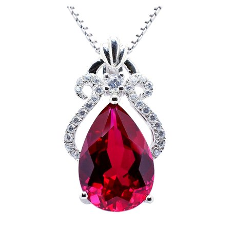 Cut Gem (6.15 Carat TCW Luxury Peart cut Gemstone Created Ruby 925 Sterling Silver Necklace Pendant with free 18 Chain )
