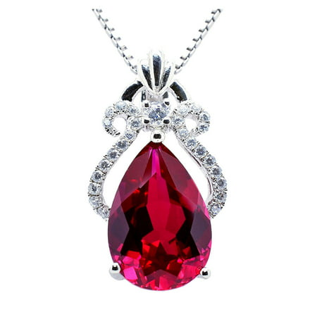 6.15 Carat TCW Luxury Peart cut Gemstone Created Ruby 925 Sterling Silver Necklace Pendant with free 18 Chain