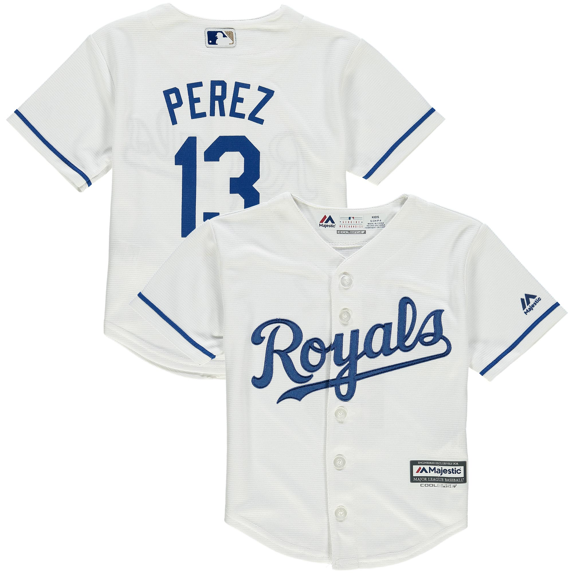 Salvador Perez Kansas City Royals Majestic Preschool Alternate Official Cool Base Player Jersey - White