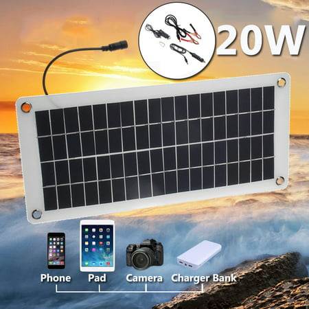 12V 20W 25W Peak Semi Flexible Solar Panel Battery Controller Cell Polysilicon Off Grid Starter Kit RV Portable Semi-flexible Waterproof For Outdoor Home Boat (Solar Panels For Boats Best Price)