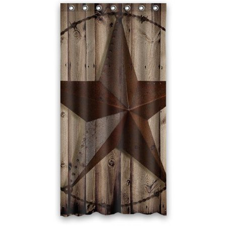 Hellodecor Western Texas Star Shower Curtain Polyester Fabric Bathroom Decorative Curtain Size 36X72 Inches