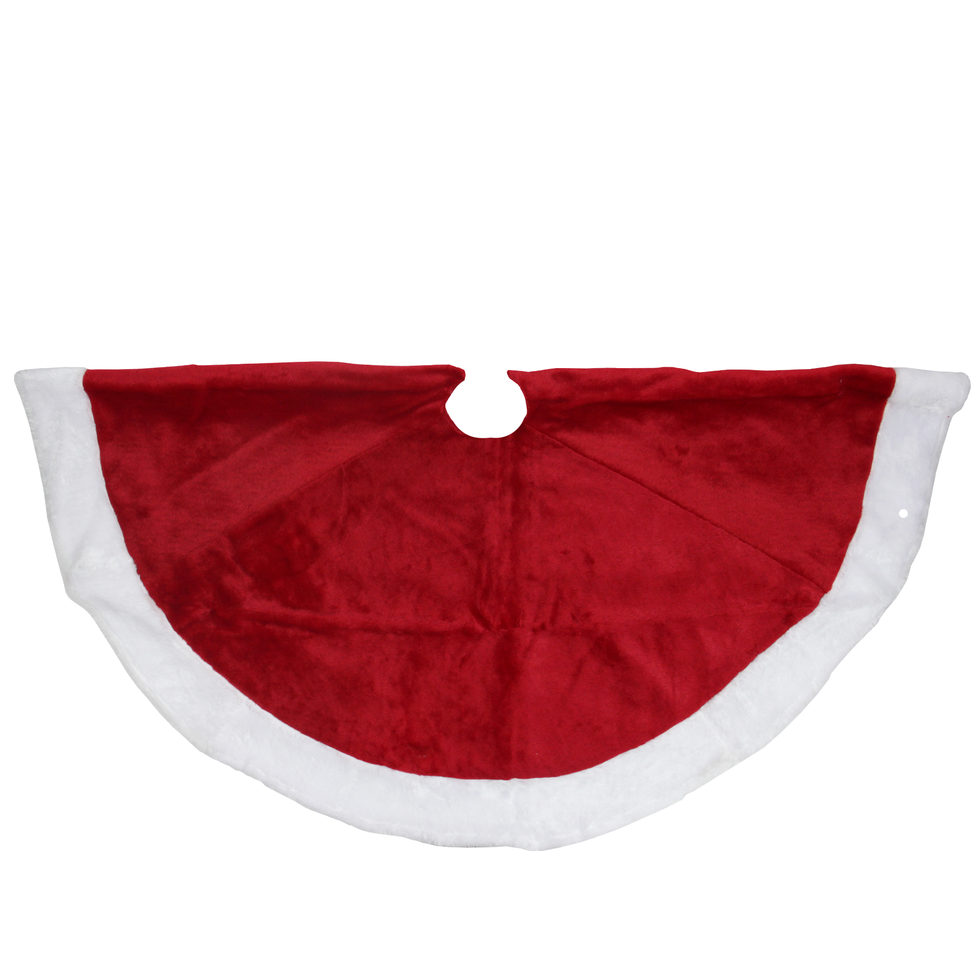 Northlight 26 Traditional Red with White Border Trim Velveteen Small Christmas Tree Skirt