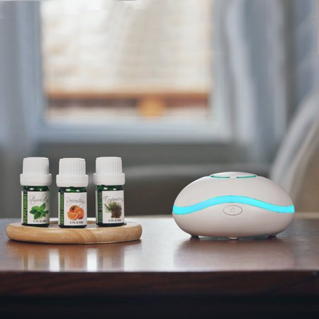 Fan Aromatherapy Diffuser Gift Set with 3 Pure Essential Oils in 5mL size. Great for Travel - USB cord or Battery Powered with Sweet Orange, Pine Scotch, & Peppermint