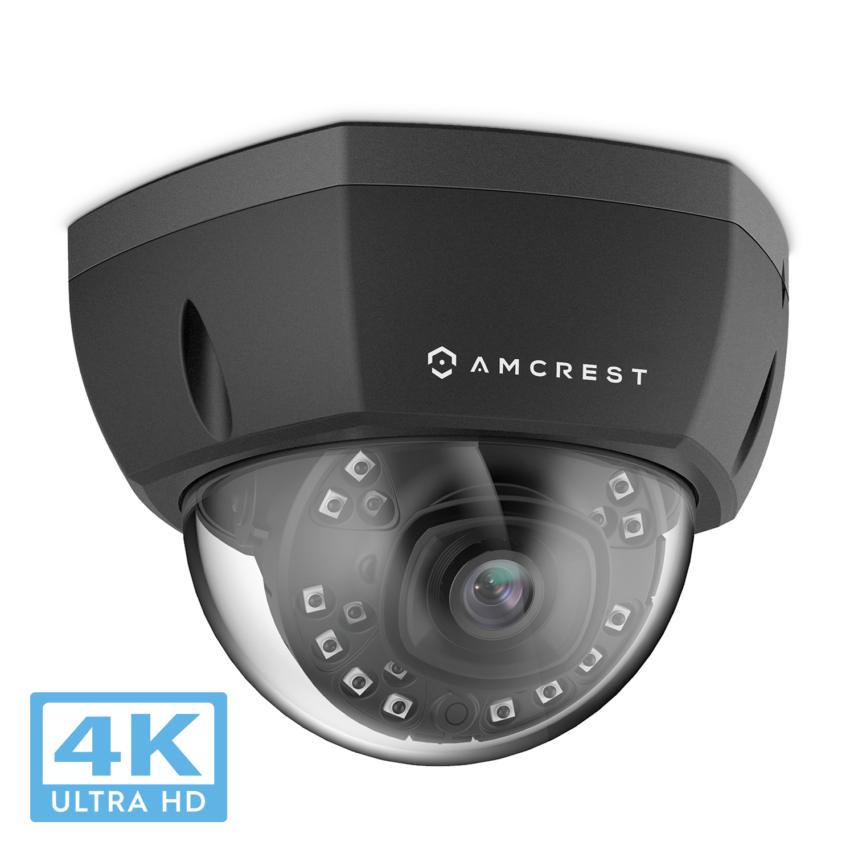 Amcrest UltraHD 4K (8MP) Dome POE IP Camera Security, 3840x2160, 98ft NightVision, 4mm Lens 69°-112°, IP67 Weatherproof, IK10 Vandal Resistance, MicroSD Recording, Black (IP8M-2493EB)