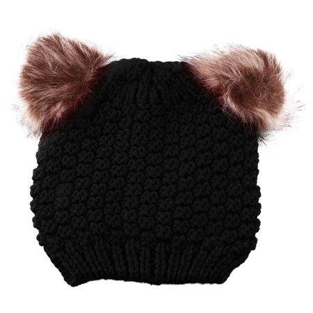 ef2d806c0d7 Enimay - Enimay Kids Baby Toddler Cable Knit Children s Pom Winter Hat  Beanie Black One Size - Walmart.com