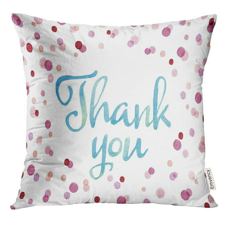 ARHOME Purple Dusty Words Thank You with Blue Watercolor in Colorful Dots Oval Shape Real Painting Red Rose Pillow Case 18x18 Inches (Damask Rose Dusty Rose)