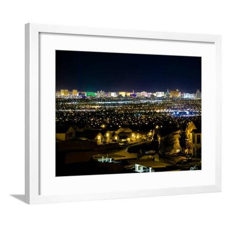 View of Neighborhood with Las Vegas, Nevada Skyline in Distance Framed Print Wall