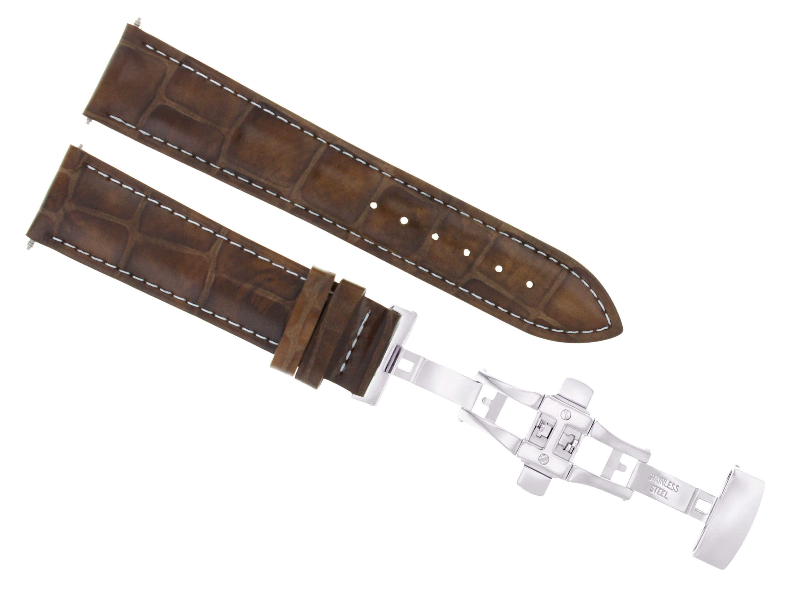 Brown Genuine Leather Strap/band Fit Breitling Watch Buckle/clasp 22mm 24mm Wristwatch Bands