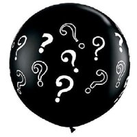 "Black Gender Party Reveal ? Question Mark Baby Shower Boy Girl 36"" Latex Balloon"