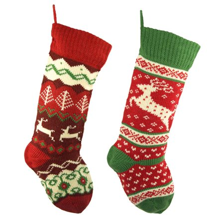 Ugly Sweater Knitted Polyester Christmas Stockings, Red, 20-Inch, (2 Piece Stockings)