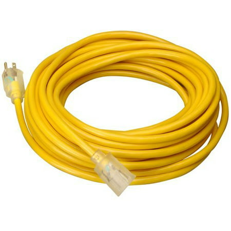 Outdoor Heavy Duty Extension Cord - Wideskall® Heavy Duty 14 Gauge UL Listed SJTW Outdoor Lighted Extension Cord (Yellow) (35 Feet)