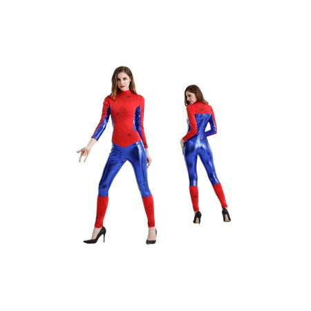 Women's Sexy Faux Leather Spider Web Catsuit Costume (Women's Spider Costume)
