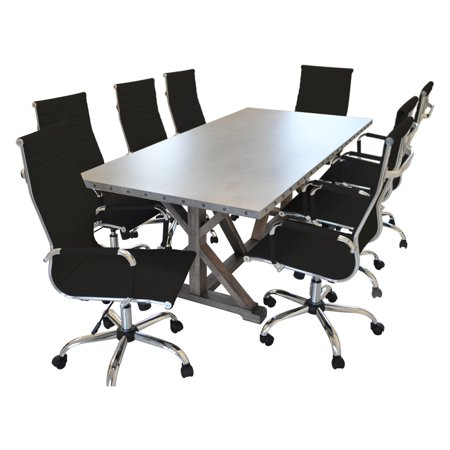Solis Armis 9 Piece Conference Table Set with Ribbed High Back Chairs ()