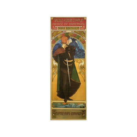 - Tragedy Of Hamlet With Sarah Bernhardt Laminated Print Wall Art By Alphonse Mucha
