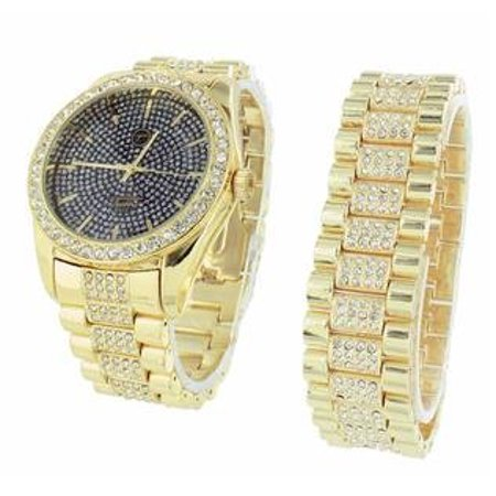 Techno Pave Mens Watch With Matching Bracelet For Cubic Zirconias Iced Out