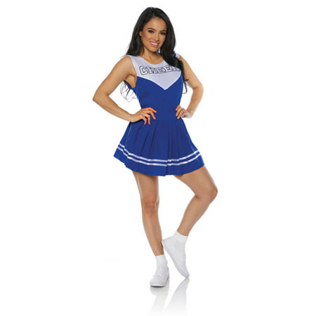 Blue Cheer Womens Adult Cheerleader Sporty Halloween Costume - Halloween Cheerleaders Makeup