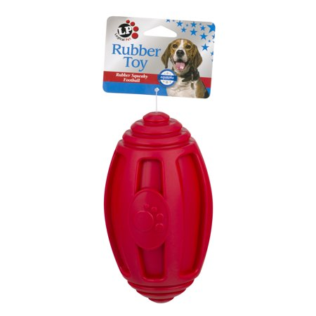 Logical Pet Rubber Squeaky Football Dog Toy, 1.0