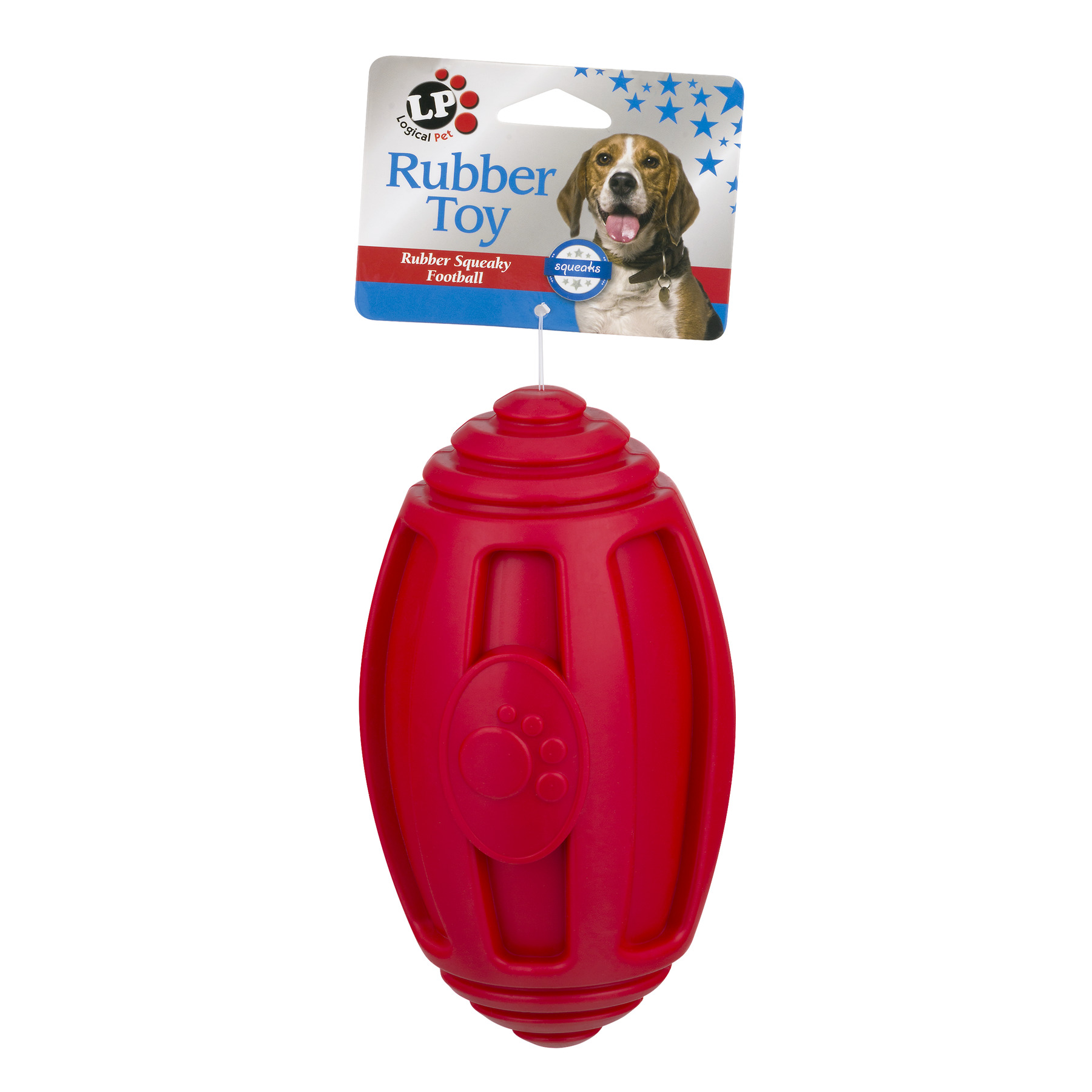 Logical Pet Rubber Squeaky Football Dog Toy, 1.0 CT