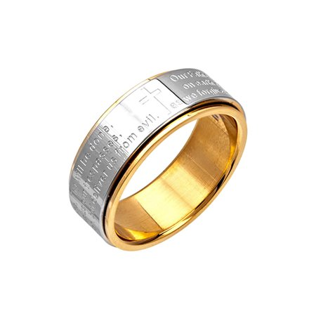 INOX Jewelry Lord's Prayer Stainless Steel Polish Finished Spinner Ring (Stainless Steel Tribal Spinner)