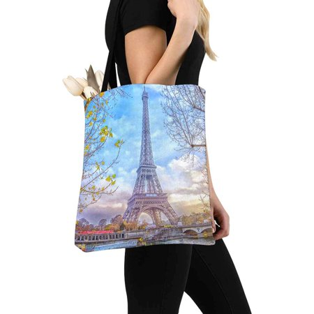 HATIART Romantic Eiffel Tower in Paris France Canvas Tote Bag Tote Shopping Bag Washable Grocery Tote Bag, Craft Canvas Bag for Women Men Kids - image 3 of 3