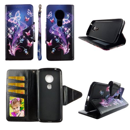 Galaxy Butterfly Wallet Case for Motorola Moto e5 Play 5th Gen Folio Standing Cover Card Slot Money Pocket Magnetic Closure Fashion Flip Pu Leather (Moto X 1st Gen Case Flip)