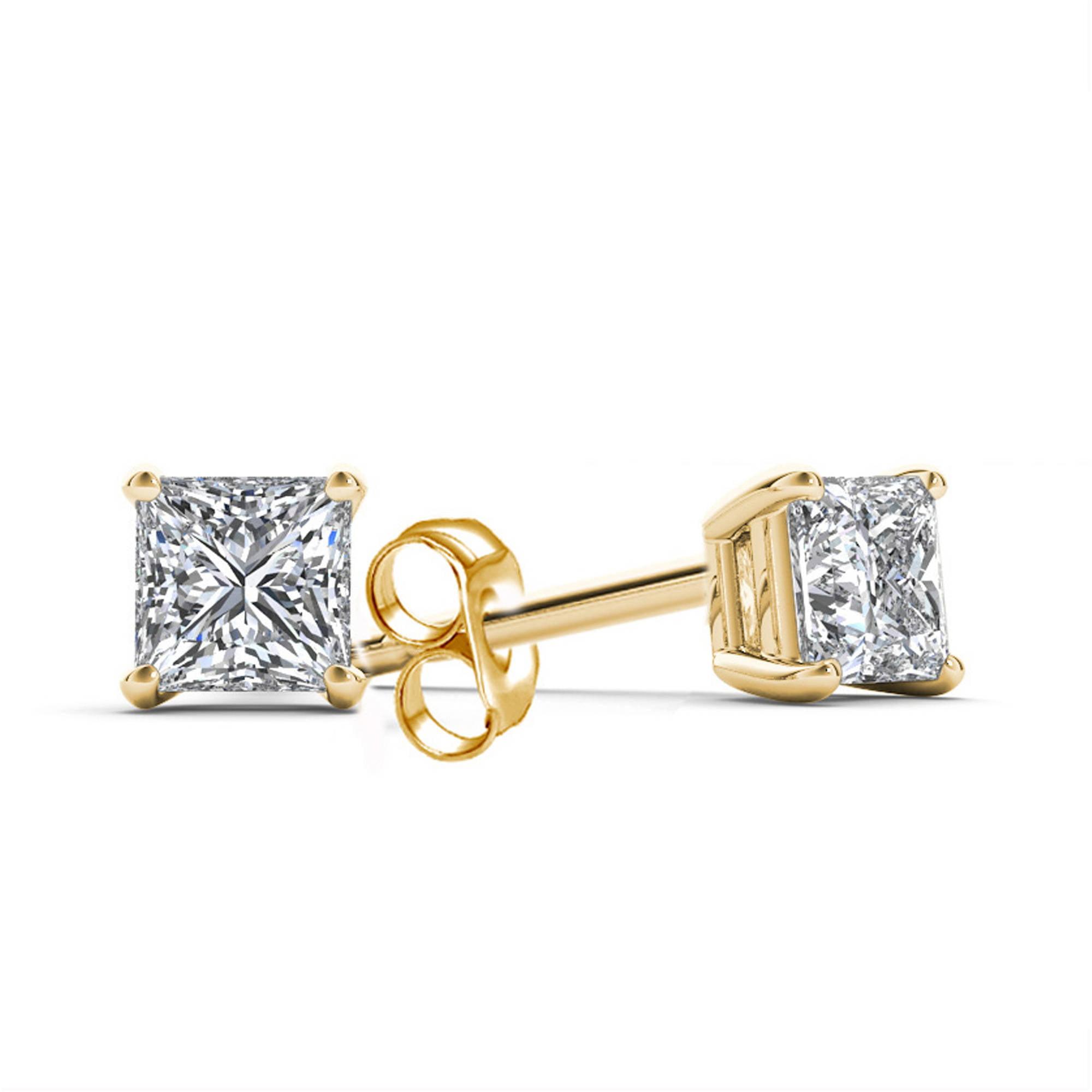 1 Carat T.W. Princess-Cut Diamond 14kt Yellow Gold Stud Earrings