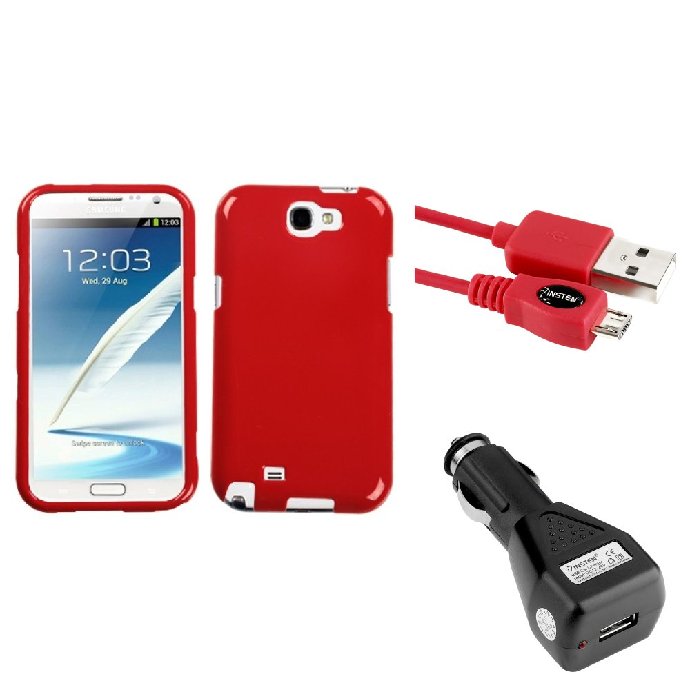 Insten Flaming Red Hard Case Car Charger Adapter Cable For Samsung Galaxy Note 2 II