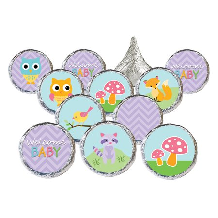 Woodland Girl Baby Shower Stickers 324ct - Purple Woodland Creatures Party Supplies Its a Girl Woodland Baby Shower Decorations Favors - 324 Count Stickers