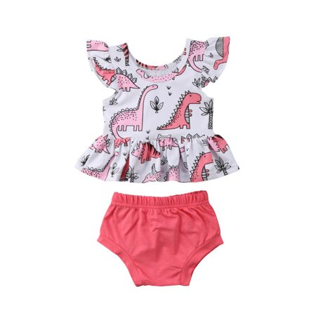 Summer Toddler Baby Girl Dinosaur Clothes Fly Short Sleeve Top Mini Dress + Bloomer Shorts Outfits - Childrens Dinosaur Outfit