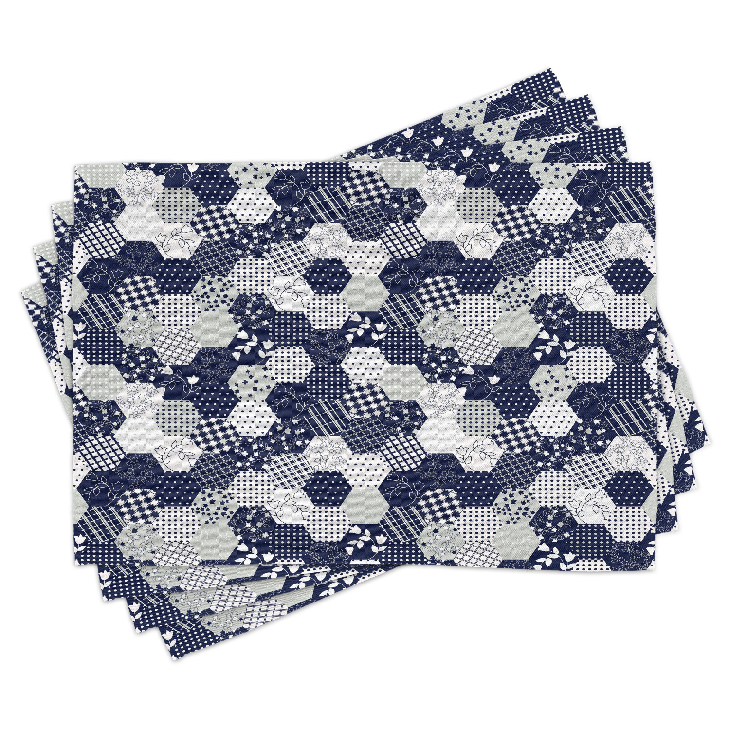 Cotton Fabric Placemats Set 4 Striped Small Leaves Pattern