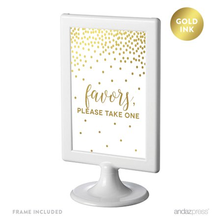 Metallic Gold Confetti Polka Dots 4x6-inch Party Signs, Favors, Please Take One, Includes - Dot Confetti