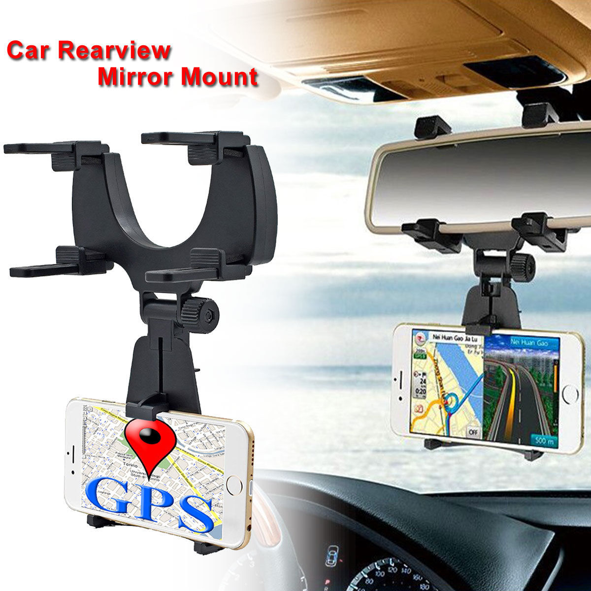 TSV Auto Car Rearview Mirror Mount Stand Holder Cradle For Cell Phone GPS Universal
