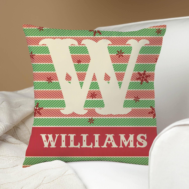 Holiday Herringbone Personalized Pillow