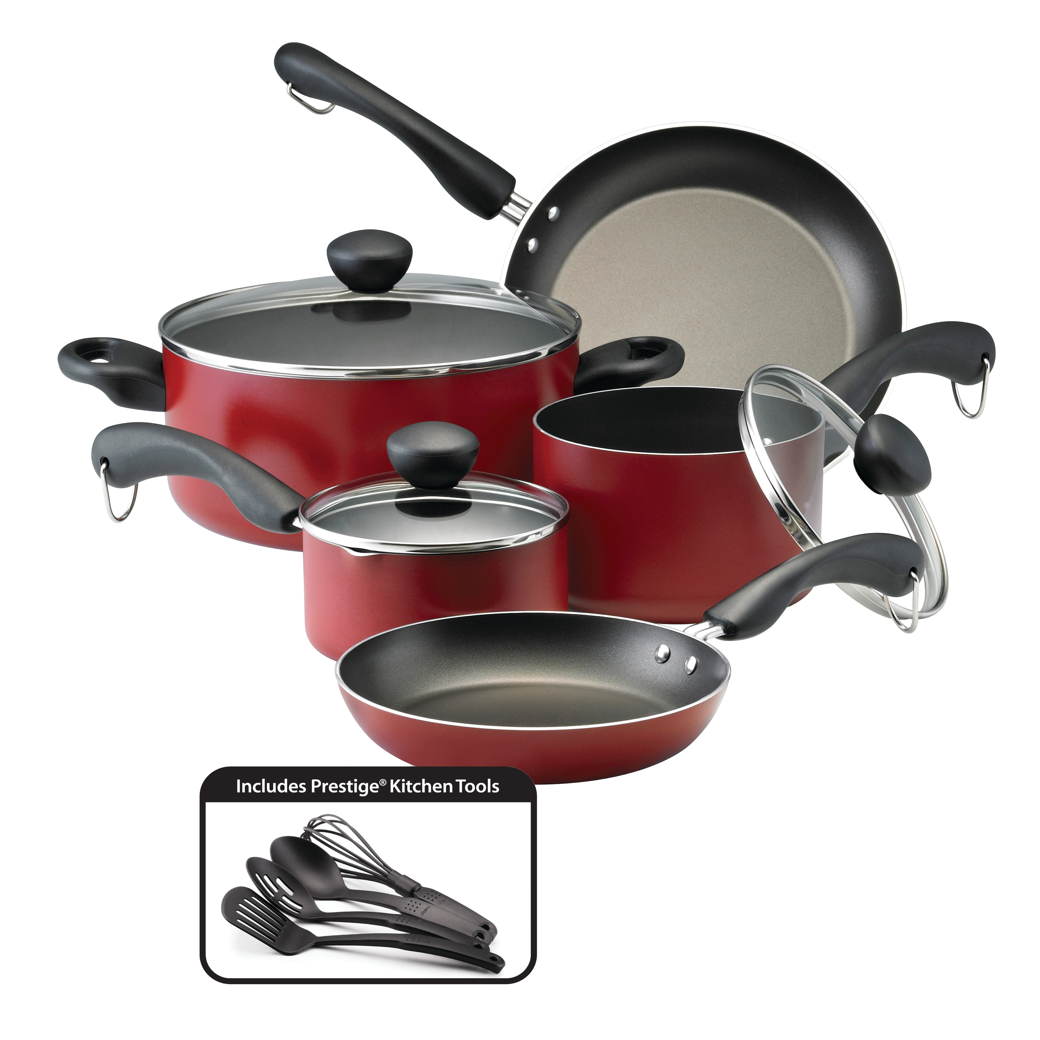 Meyer Corporation Farberware Easy Clean Dishwasher Safe Aluminum Nonstick 12 - Piece Cookware Set