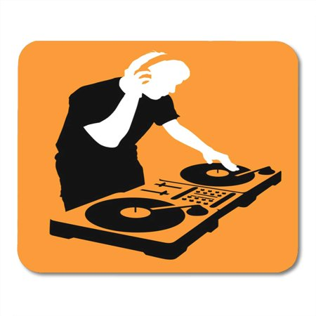 KDAGR Music Orange Party Silhouette of Dj Wearing Headphones and Scratching Record on The Turntable Musician Mousepad Mouse Pad Mouse Mat 9x10 inch