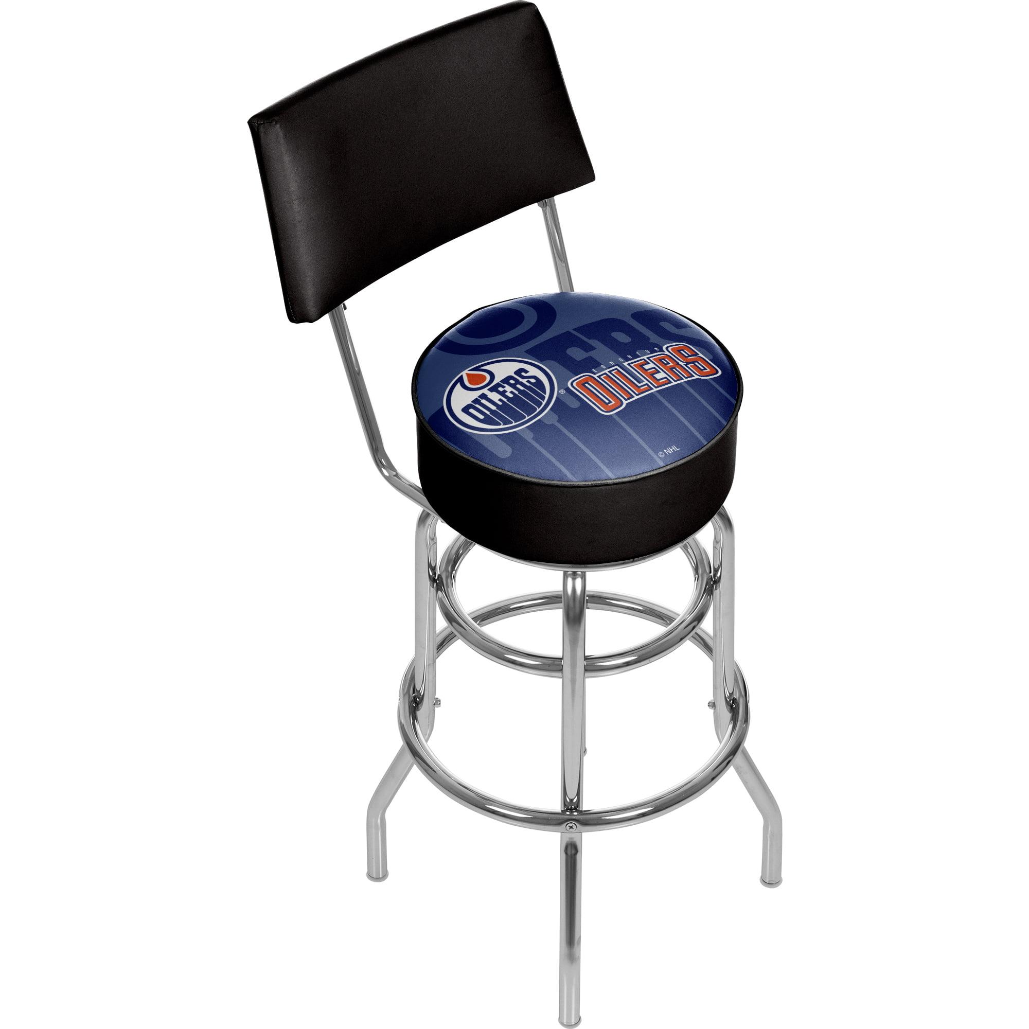 NHL Swivel Bar Stool with Back - Watermark - Edmonton Oilers
