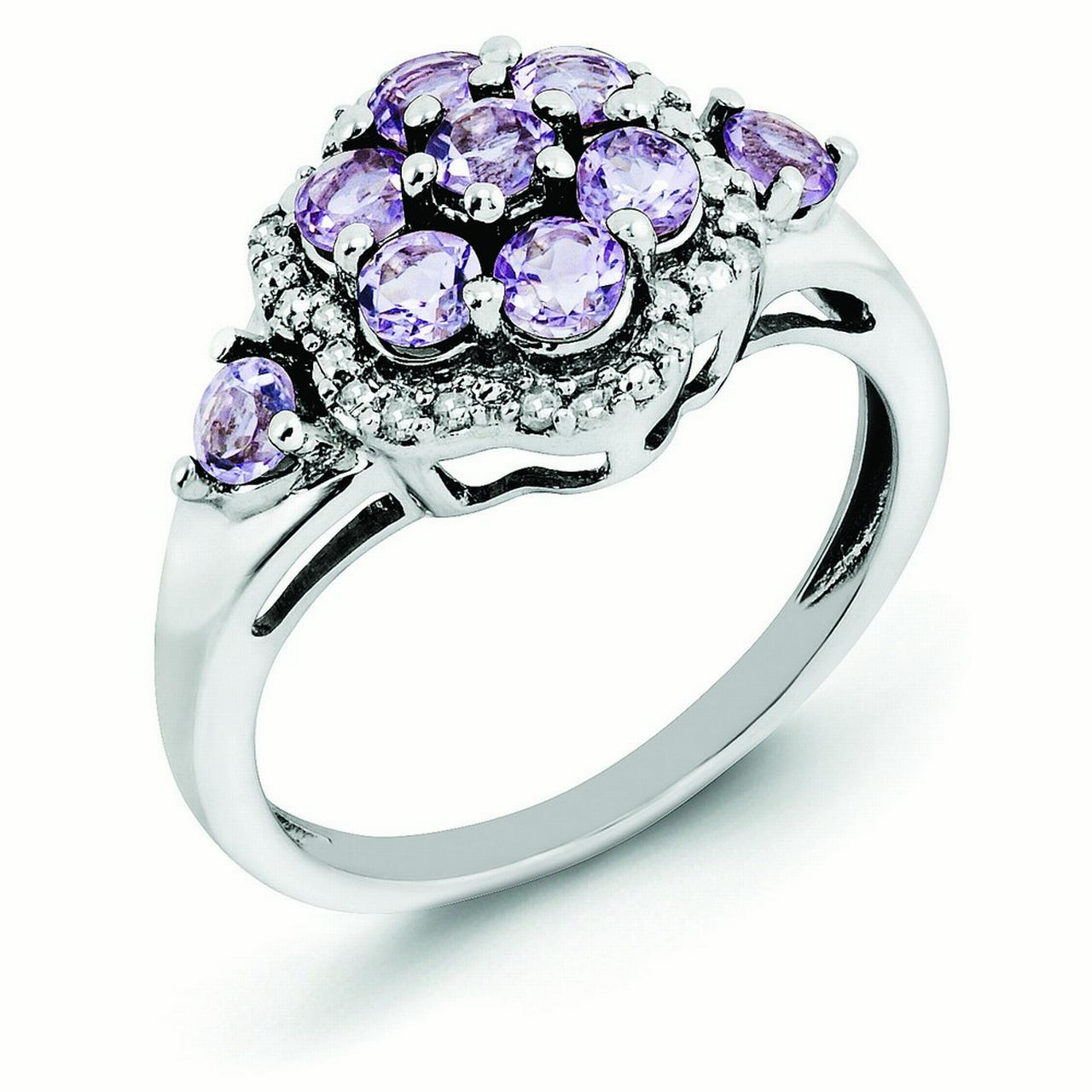 Sterling Silver Diamond and Pink Amethyst Ring Ring Size: 5 to 10 by Jewelryweb