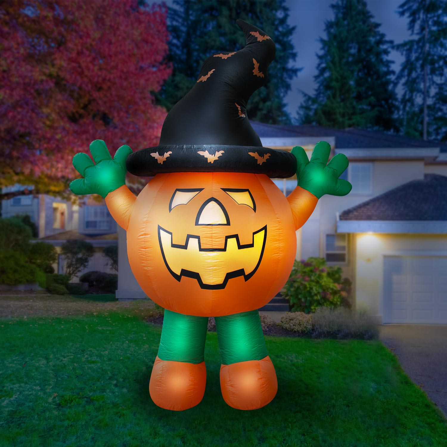 Holidayana Giant 10 Ft Airblown Inflatable Halloween Pumpkin Man – Inflatable Halloween Decoration with Super Bright Internal Lights, Built-in Fan & Anchor Ropes