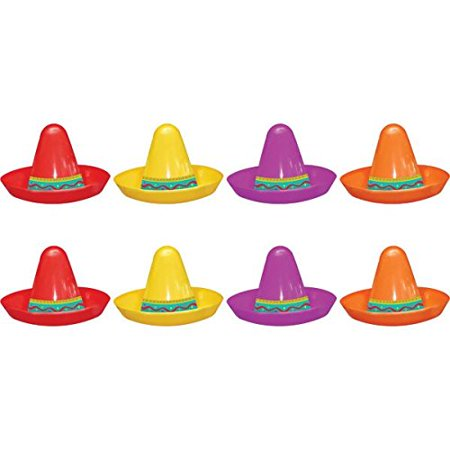 amscan fiesta cinco de mayo plastic mini sombreros, 8 ct. | party accessory (Memes De Fiestas De Halloween)