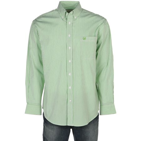 Panhandle Mens  Slim /White Striped Button Shirt M Green - Panhandle Slim Rock