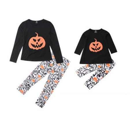 Halloween Family Matching Pajama Set Mommy and Me Pumpkin Pattern Shirts Tops and Pants Outfit
