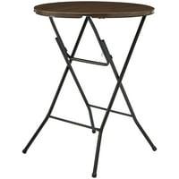 "Mainstays 31"" Round High Top Folding Table, Walnut"
