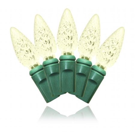 Winterland S-35C6WW-4G C6 Warm White LED Light Set With In-Line Rectifer On Green Wire