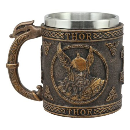 Ebros Gift Norse Mythology Viking God Of Thunder Thor Coffee Mug Resin Drink Cup Tankard Beer Stein With Stainless Steel Liner For Kitchen Home Decor Medieval Renaissance Party Hosting