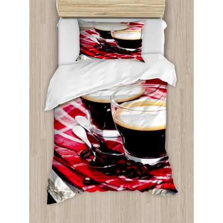Coffee Twin Size Duvet Cover Set, Freshly Brewed Espresso Two Cups on Wooden Tray Leisure Relaxing Time in Countryside, Decorative 2 Piece Bedding Set with 1 Pillow Sham, Multicolor, by - Beading Tray