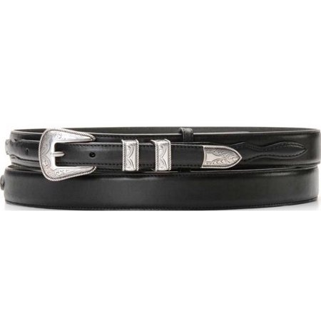 Nocona Western Belt Mens Leather Smooth Ranger Black N2450701 (Western Mens Belts Leather)