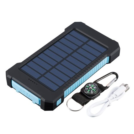 Waterproof 600000mAh Dual USB Portable Solar Charger Solar Power Bank For Phone(Blue) (Mycharge Power Pack)