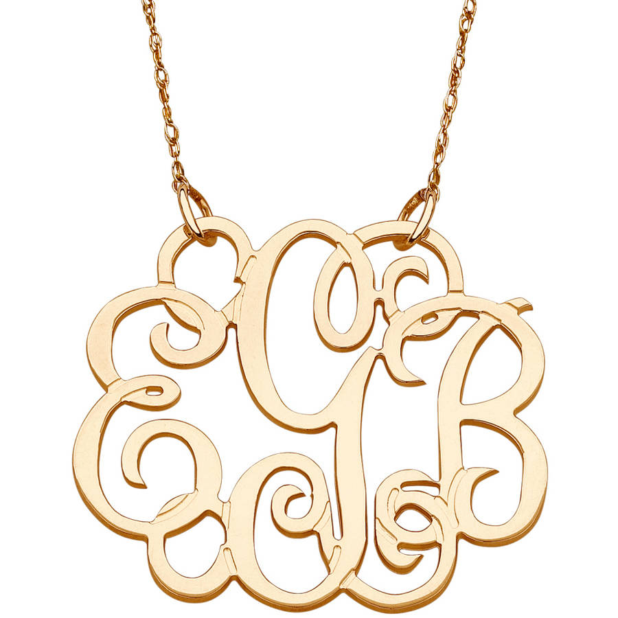 Personalized 10kt Yellow Gold Fancy 3-Initial Monogram Necklace